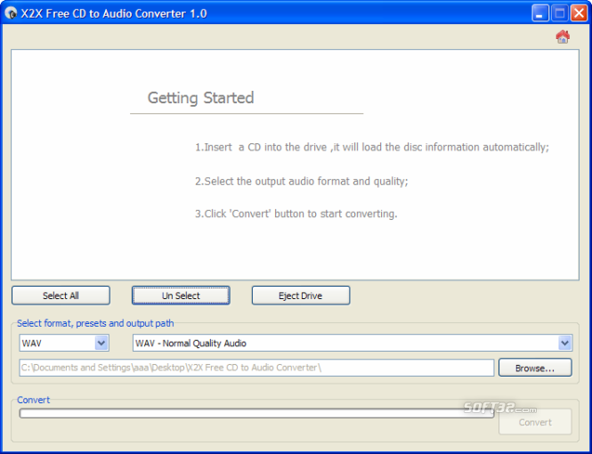X2X Free CD to Audio Converter Screenshot 2