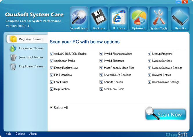 QuuSoft System Care Screenshot