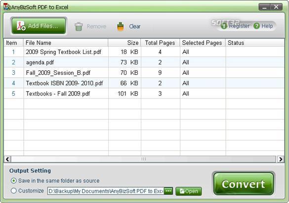 AnyBizSoft PDF to Excel Converter Screenshot 2