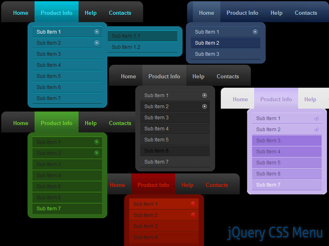 jQuery CSS Menu Style 06 Screenshot 1