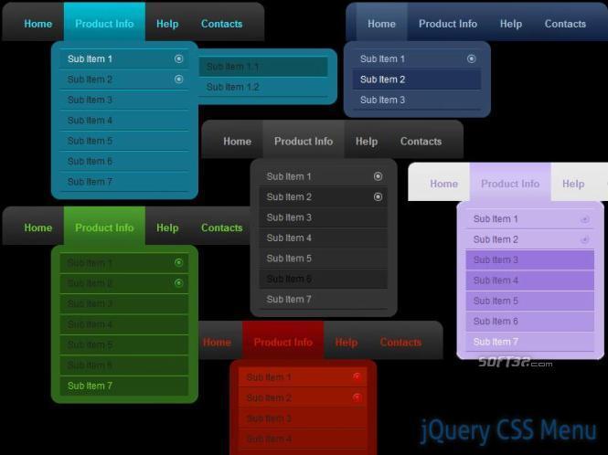 jQuery CSS Menu Style 06 Screenshot 2