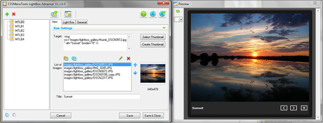 LightBox Advancer for Dreamweaver Screenshot