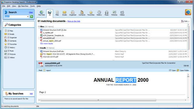 Copernic Desktop Search Professional Screenshot