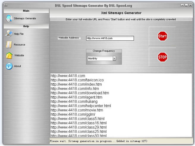 DSL Speed Sitemaps Generator Screenshot 1