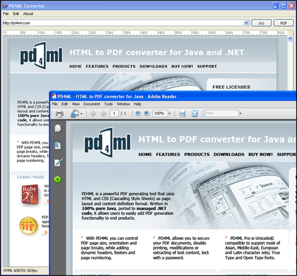 PD4ML.NET. HTML to PDF converter Screenshot