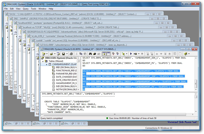 Query Tool (using ODBC) Screenshot