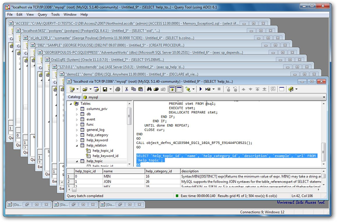 Query Tool (using ADO) Screenshot 1