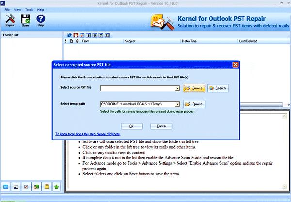 Repair PST Tool Screenshot 1