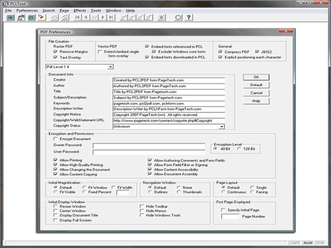 PCL to PDF Console Program Screenshot