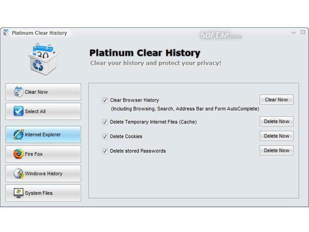 Platinum Clear History Screenshot