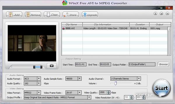 WinX Free AVI to MPEG Converter Screenshot 3
