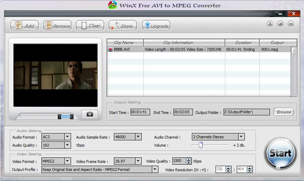WinX Free AVI to MPEG Converter Screenshot