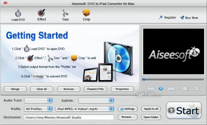 Aiseesoft DVD to iPad Converter for Mac Screenshot 2