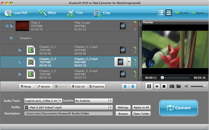 Aiseesoft DVD to iPad Converter for Mac Screenshot