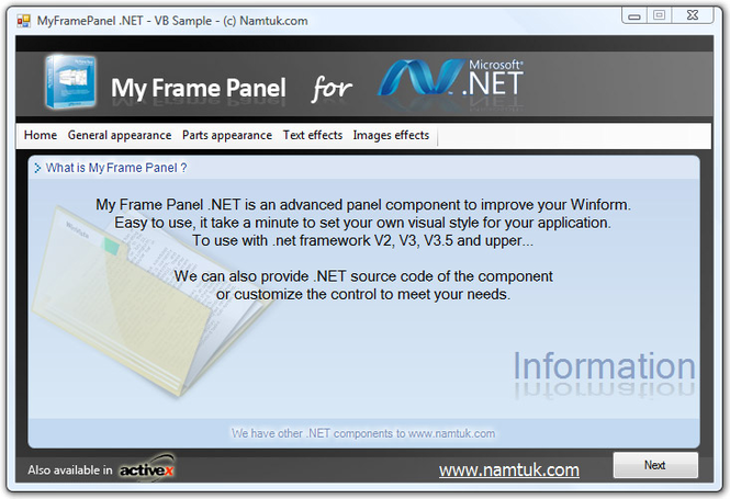 .NET My Frame Panel Screenshot