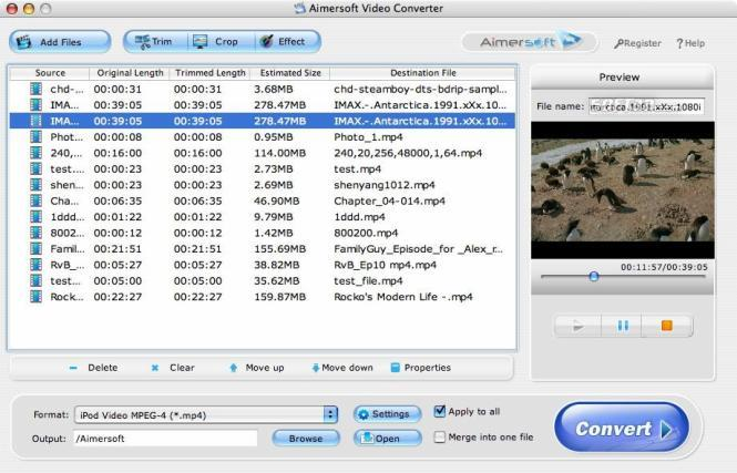 Aimersoft Video Converter for Mac Screenshot
