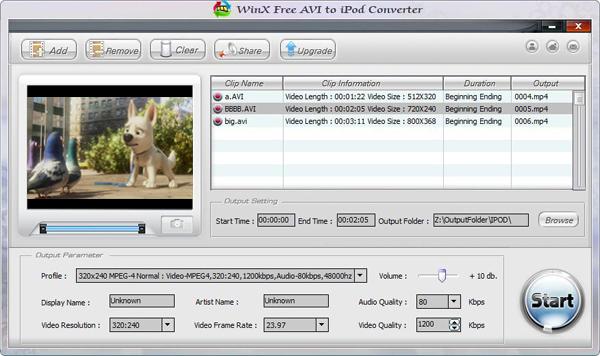 WinX Free AVI to iPod Converter Screenshot 1