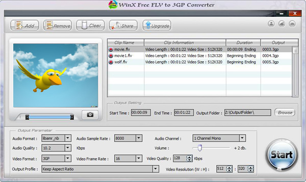 WinX Free FLV to 3GP Converter Screenshot 1