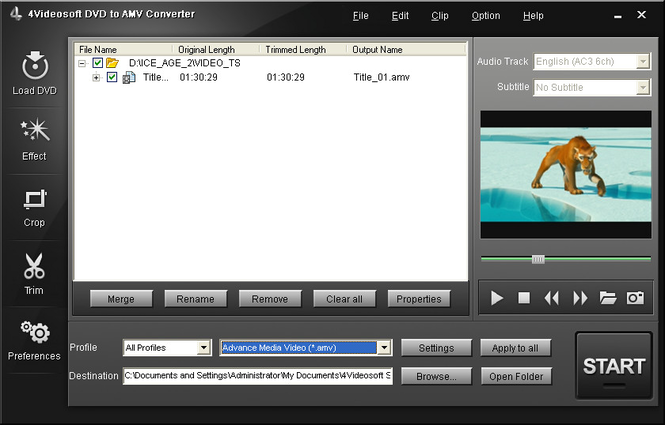 4Videosoft DVD to AMV Converter Screenshot 1