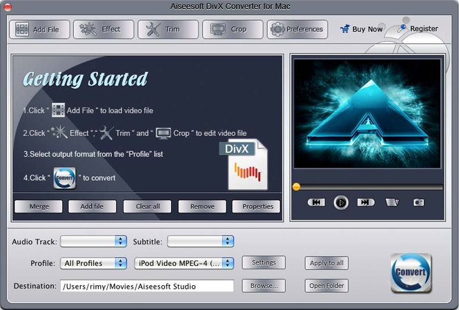 Aiseesoft DivX Converter for Mac Screenshot 1