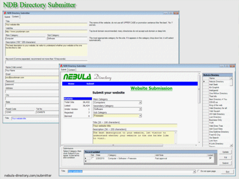 NDB Directory Submitter Screenshot