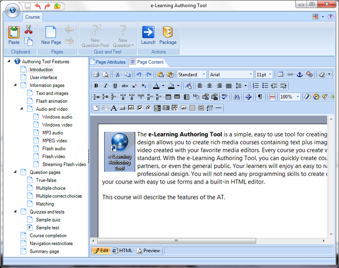e-Learning Authoring Tool Screenshot