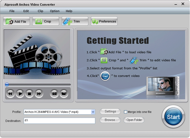 Aiprosoft Archos Video Converter Screenshot