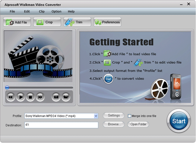 Aiprosoft Walkman Video Converter Screenshot