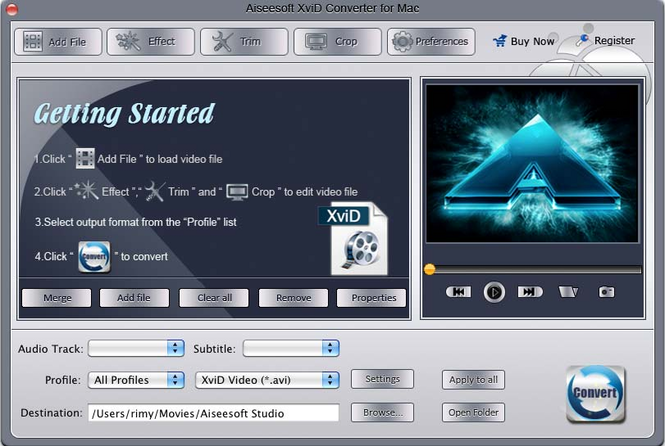 Aiseesoft XviD Converter for Mac Screenshot