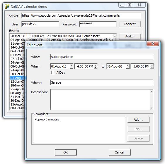 CalDAV Calendar Delphi Component Screenshot