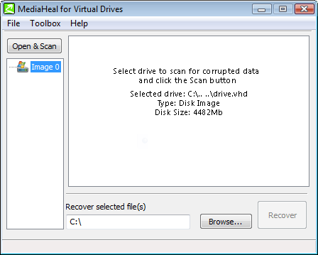 MediaHeal for Virtual Drives Screenshot