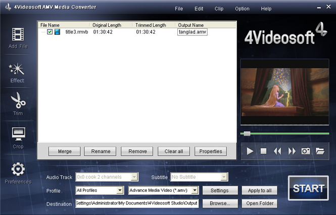 4Videosoft AMV Media Converter Screenshot