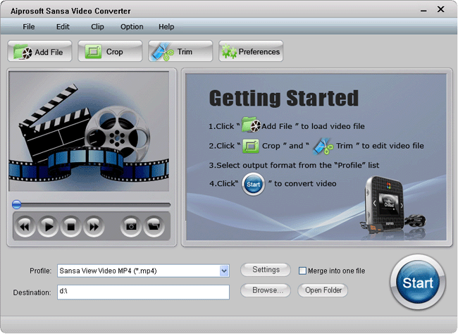 Aiprosoft Sansa Video Converter Screenshot