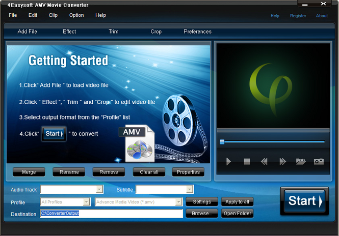 4Easysoft AMV Movie Converter Screenshot