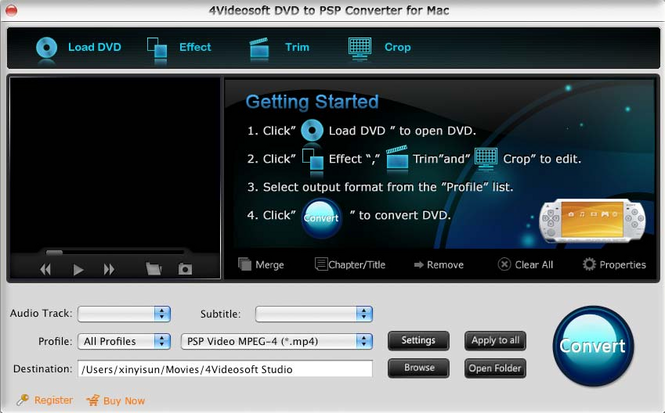 4Videosoft DVD to PSP Converter for Mac Screenshot