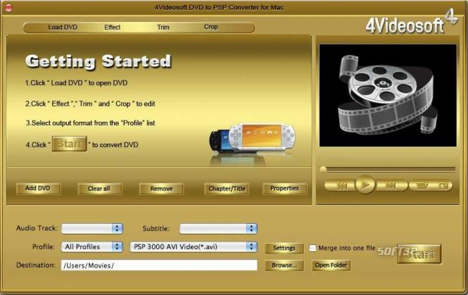 4Videosoft DVD to PSP Converter for Mac Screenshot 3