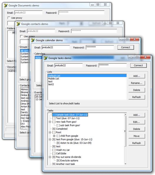 Google Calendar and Contacts Component Screenshot