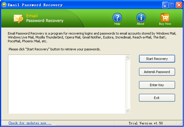 Mail Password Recovery Screenshot