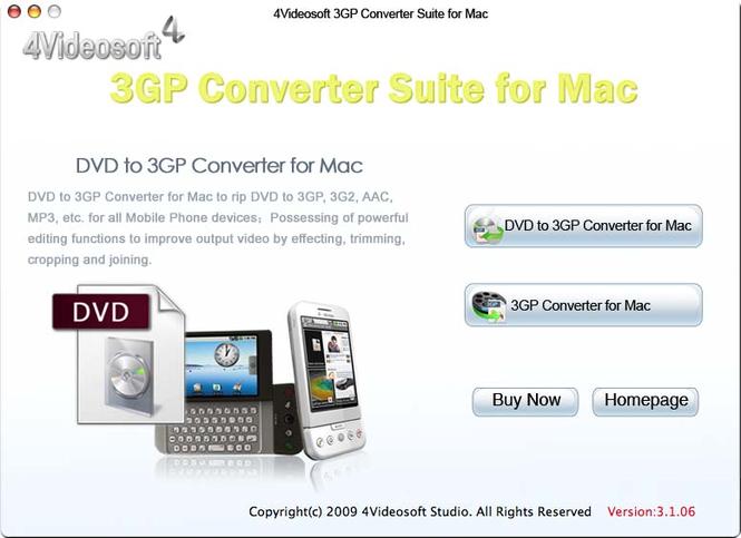 4Videosoft 3GP Converter Suite for Mac Screenshot 1