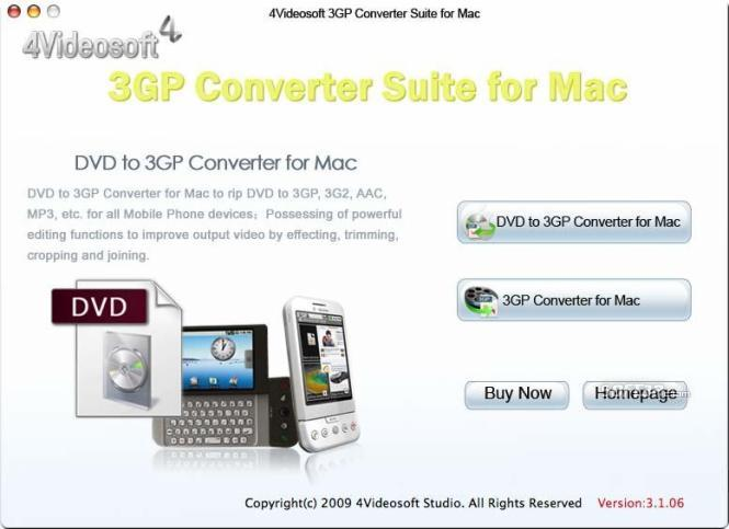 4Videosoft 3GP Converter Suite for Mac Screenshot 2