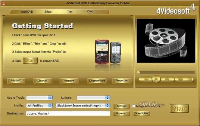 4Videosoft DVD to BlackBerry Converter for Mac Screenshot 2