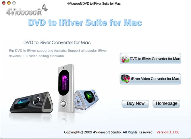 4Videosoft DVD to iRiver Suite for Mac Screenshot
