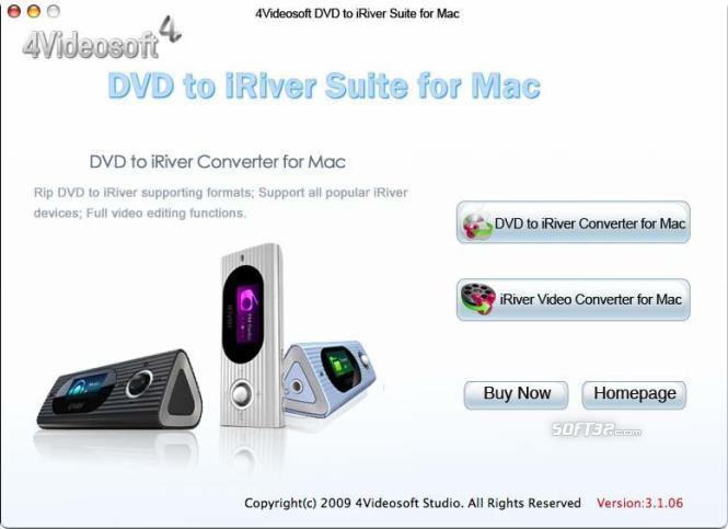 4Videosoft DVD to iRiver Suite for Mac Screenshot 2
