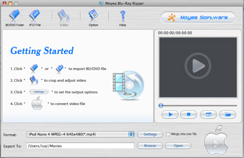 Moyea Blu-Ray Ripper for Mac Screenshot