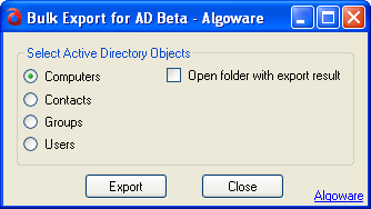 Algoware Active Directory Export Tool Screenshot