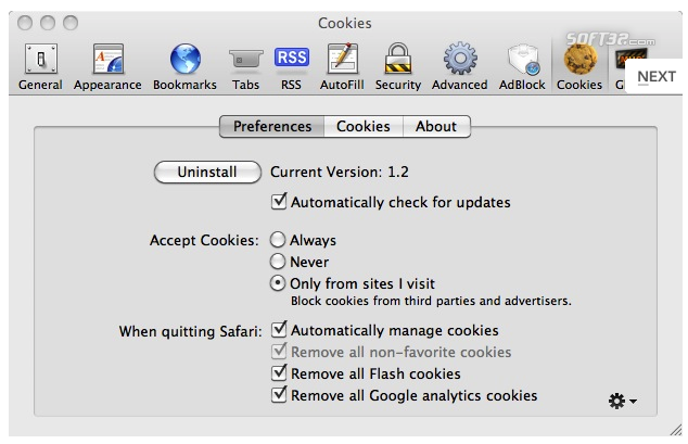 Safari Cookies Screenshot
