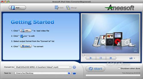 Aneesoft iPod Video Converter for Mac Screenshot 2