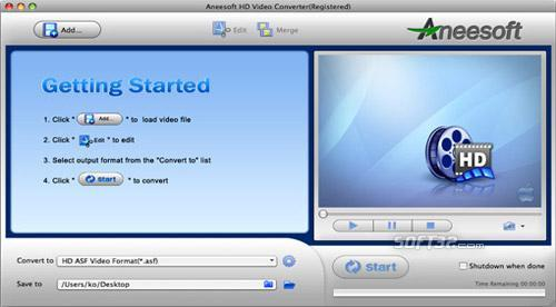 Aneesoft HD Video Converter for Mac Screenshot 2