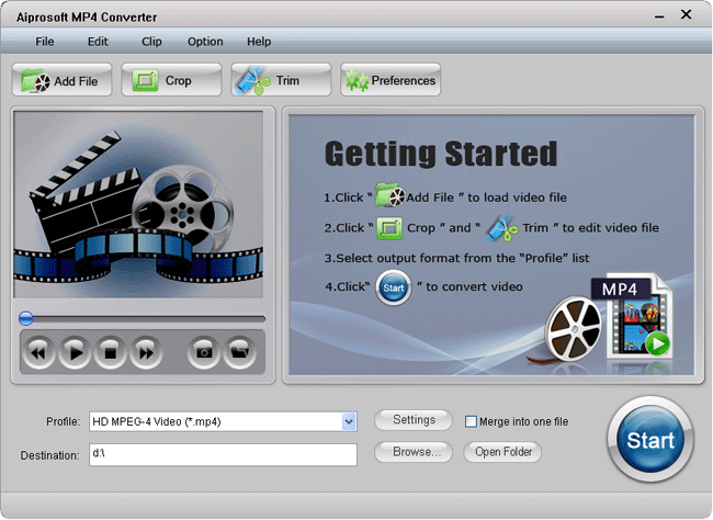 Aiprosoft MP4 Converter Screenshot