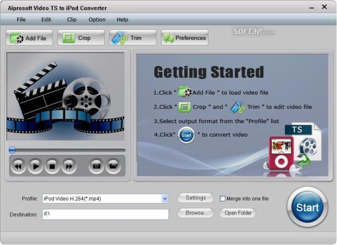Aiprosoft Video TS to iPod Converter Screenshot 2